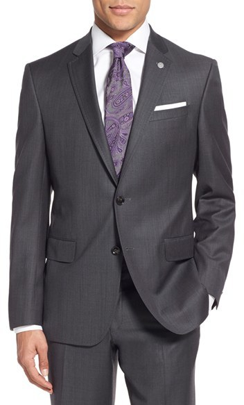 Men's Ted Baker London 'Jay' Trim Fit Solid Wool Suit 4