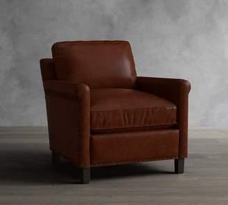 Pottery Barn Tyler Leather Roll Arm Armchair