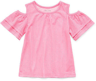 Okie Dokie Crew Neck Short Sleeve Cold Shoulder Sleeve Blouse - Toddler Girls
