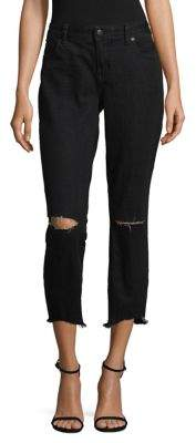 Free People Dark Wash Distressed Skinny Jeans $78 thestylecure.com