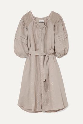 Innika Choo Hugh Smocked Embroidered Linen Dress - Gray