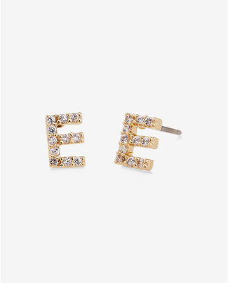 Express Pave E Initial Stud Earrings $14.90 thestylecure.com