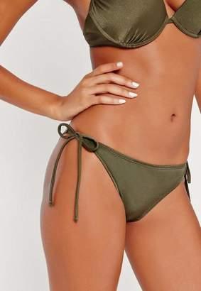 Missguided Khaki Tie Side Bikini Bottoms - Mix & Match