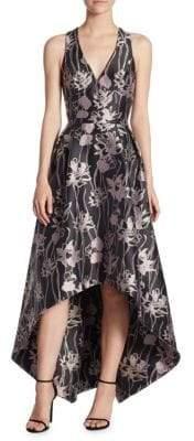 ML Monique Lhuillier V-Neck Jacquard Hi-Lo Dress