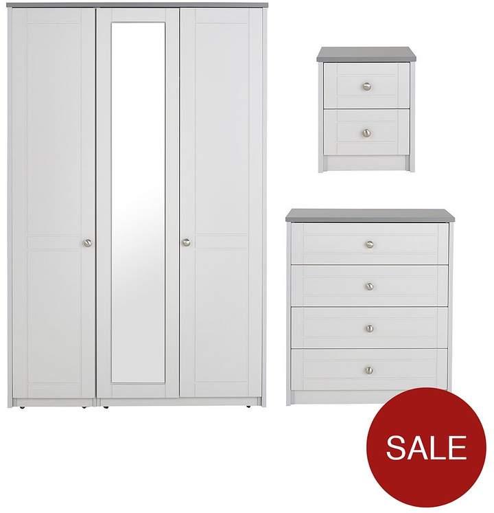 Alderley 3-Piece Package - 3 Door Wardrobe, 4 Drawer Chest And 2 Drawer Bedside Cabinet