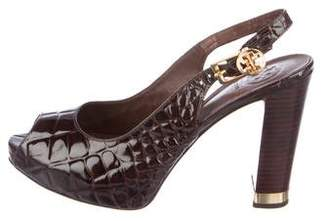 Tory Burch Embossed Patent Leather Peep-Toe Pumps