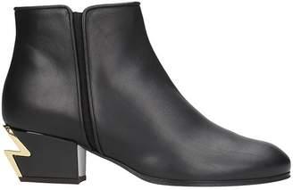 Giuseppe Zanotti G Heel Black Calfskin Leather Mini Boot