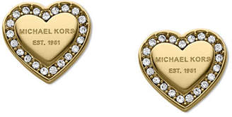 Michael Kors Gold Tone With Clear Pave Logo Heart Post Earring