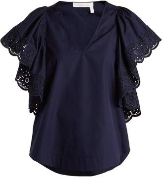 See by Chloe Broderie-anglaise cotton-poplin top