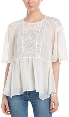 4204e4824c8c50 BCBGMAXAZRIA Lace-Paneled Silk Blouse