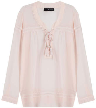 The Kooples Tie-Front Peasant Blouse
