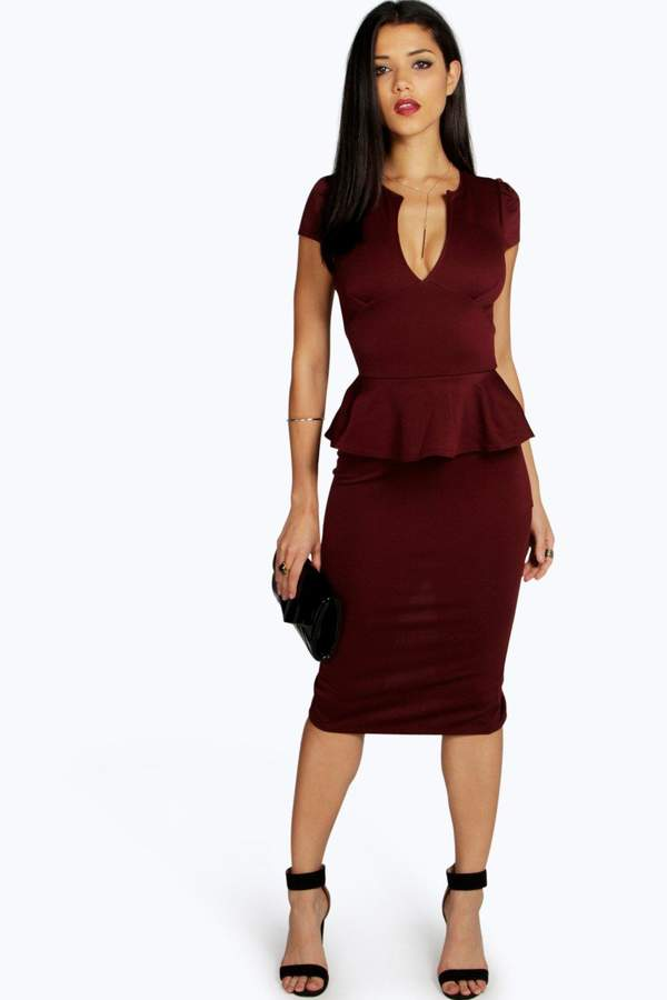 boohoo Emily Slit Neck Cap Sleeve Peplum Midi Dress