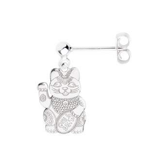 CarterGore - Silver Lucky Cat Single Short Drop Earring
