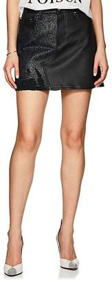 Amiri Women's Leather & Denim Miniskirt