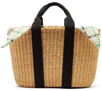 Muun Caba Checked Mohair And Woven Straw Bag - Womens - Green Multi