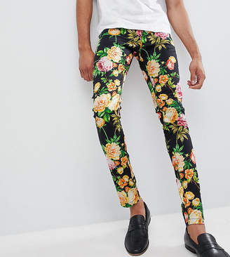 Asos DESIGN Tall Super Skinny Pants In Navy Floral Print