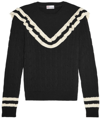 REDValentino - Ruffle-trimmed Striped Cotton Sweater - Black $595 thestylecure.com