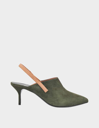 Pierre Hardy Rally Suede Pointed Slingbacks in Kaki-Blush Suede Kid Leather