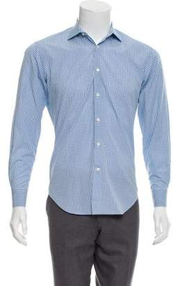 Barneys New York Barney's New York Plaid Trim Fit Dress Shirt