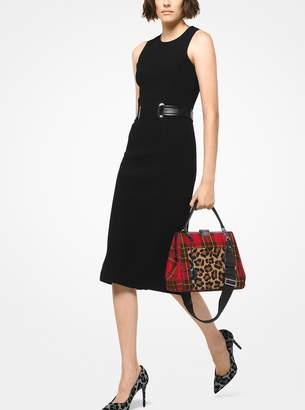 Michael Kors Simone Tartan and Leopard Top-Handle Bag
