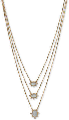 "Lucky Brand Gold-Tone Pave & Mother-of-Pearl Convertible Layered Necklace, 17-1/4"" + 3"" extender"