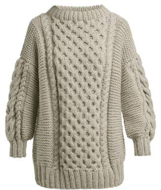 I Love Mr Mittens - Tali Oversized Cable Knit Wool Jumper - Womens - Light Grey