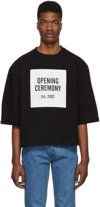 Opening Ceremony Black Logo Cut Off Short Sleeve Sweatshirt
