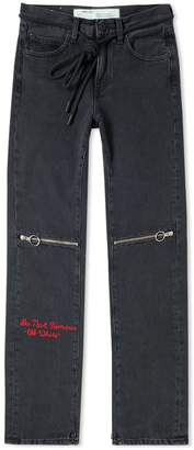 Off-White Off White Zip 5 Pocket Slim Jean
