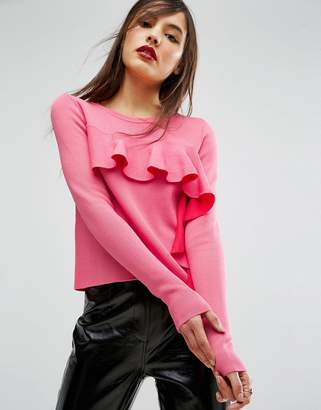 ASOS Sweater with Ruffle Front $46 thestylecure.com