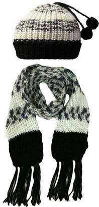 Luxury Divas Multicolor Chunky Knit Hat & Scarf Set