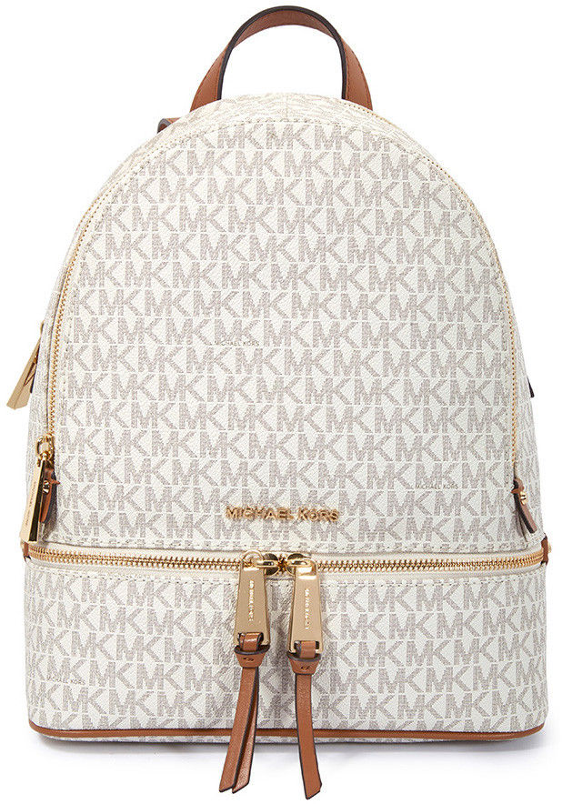 Michael Kors Rhea Medium Logo Print Backpack - Vanilla - ONE COLOR - STYLE