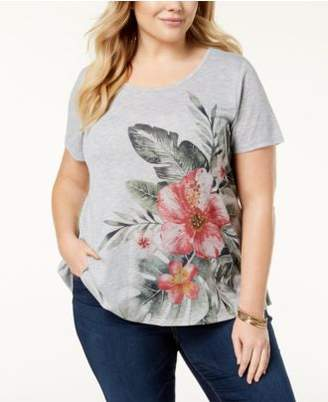 Style&Co. Style & Co Plus Size Floral-Print High-Low Hem Top, Created for Macy's