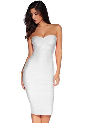 Meilun Women's Rayon Strapless Below Knee Bandage Bodycon Party Cocktail Dress