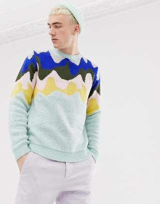 Asos DESIGN knitted sweater with design pattern in mint