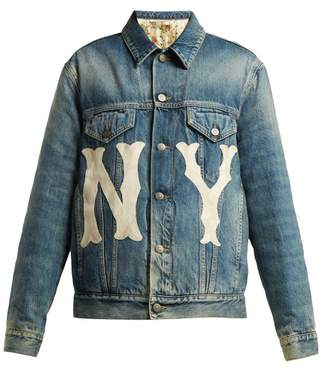 Gucci Ny Embroidered Logo Patch Denim Jacket - Womens - Denim