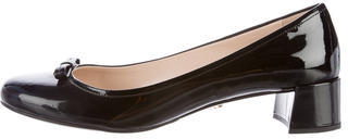 prada Prada Patent Leather Round-Toe Pumps