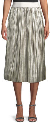 Alice + Olivia Mikaela Shiny Pleated A-Line Midi Skirt