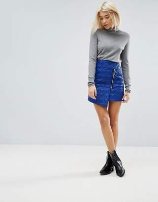 Asos Puffer Mini Skirt With Zip Detail