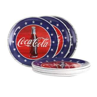 Americana Coca-Cola 12 Piece 10.5 inch Dinner Plate Set in Blue