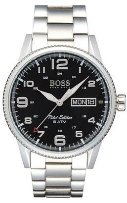 Men's Boss 'Pilot' Bracelet Watch, 44Mm $295 thestylecure.com
