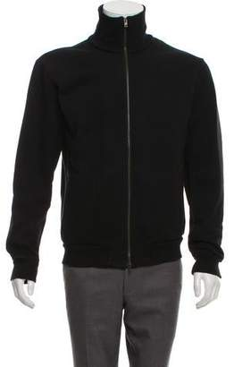 Maison Margiela Leather-Accented Zip-Up Sweatshirt