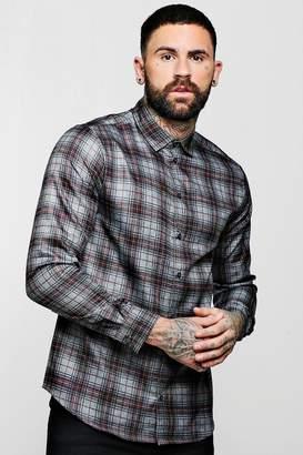 boohoo Red And Grey Check Long Sleeve Shirt