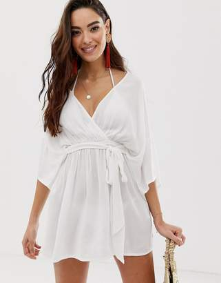 Asos Design DESIGN plunge tie waist kimono sleeve crinkle beach cover up in white