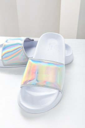Urban Outfitters UO Holographic Pool Slide $15 thestylecure.com