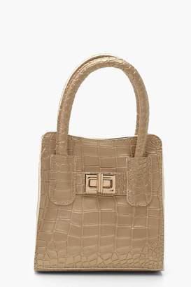 boohoo Metallic Croc Mini Lock Grab Bag