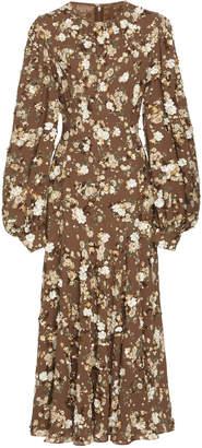 Michael Kors Floral Crewneck Silk Dress
