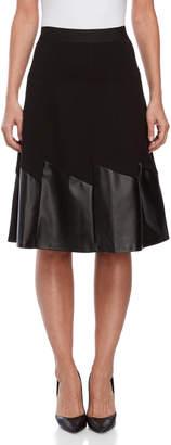 YAL New York Black Ponte & Faux Leather Midi Skirt