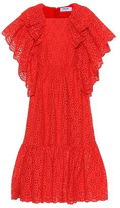 MSGM Eyelet lace cotton midi dress