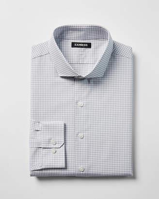 Express Extra Slim Check Print Cotton Spread Collar Dress Shirt