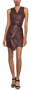 BCBGMAXAZRIA Faux-Leather Asymmetrical Sheath Dress